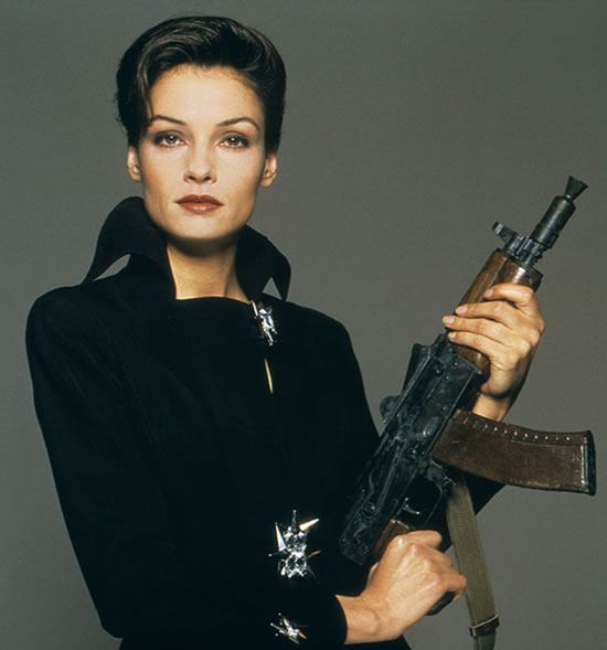 Famke Janssen as Xenia Onatopp in GoldenEye in 1995