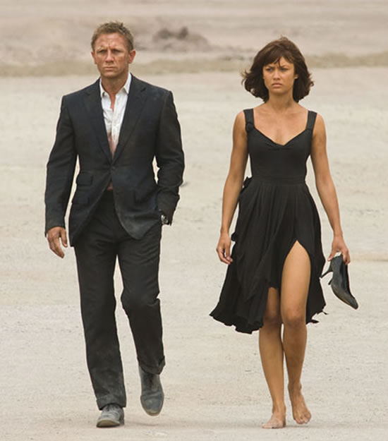 Camille Montes played by Olga Kurylenko, with Daniel Craig as James Bond in Quantum of Solace in 2008
