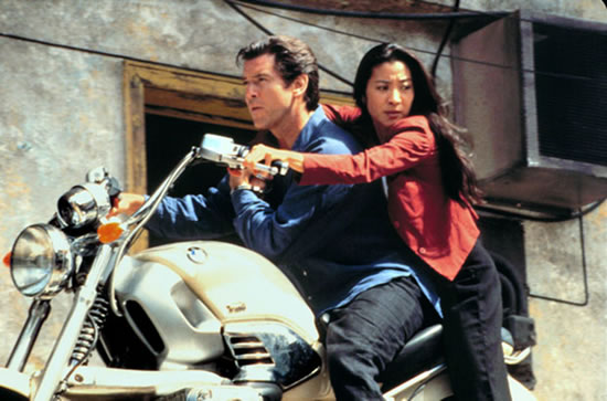Michelle Yeoh as Wai Lin alongside Pierce Brosnan in Tomorrow Never Dies in 1997